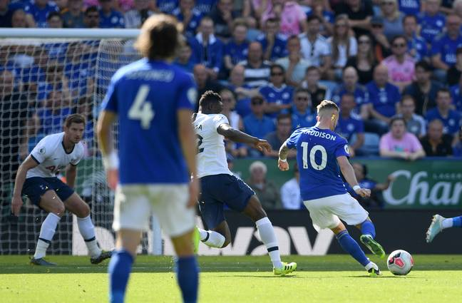 Maddison strikes against Spurs. Image: PA Images