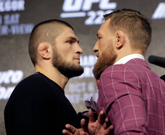 Khabib and McGregor come face to face. Image: PA Images