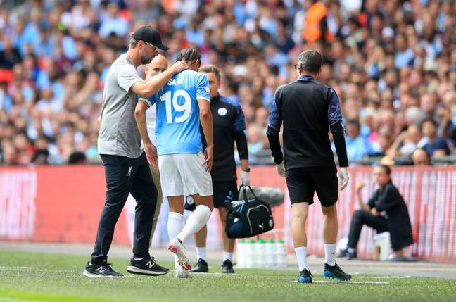 Sane consoled off as he left the Community Shield. Image: PA Images