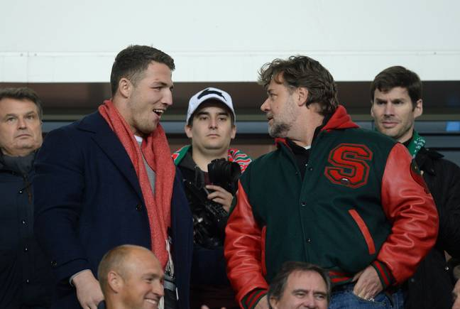 Sam Burgess with Rabbitohs owner Russell Crowe. Credit: PA