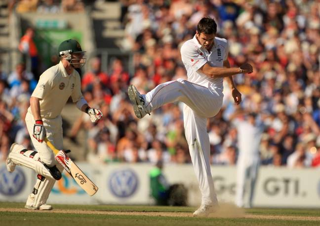 Mike Hussey hits Anderson for four runs during the 2009 Ashes series. Credit: PA