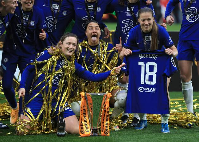 Kerr and Kirby celebrate winning the FA Women's League Cup. Credit: PA