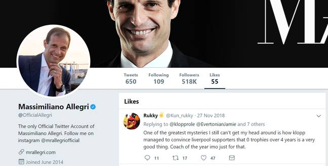 Allegri's Twitter 'likes' suggests he's no fan of Klopp. Image: PA Images