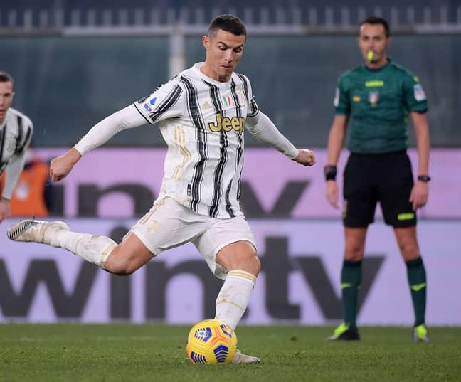 Ronaldo takes a penalty against Genoa. Image: PA Images