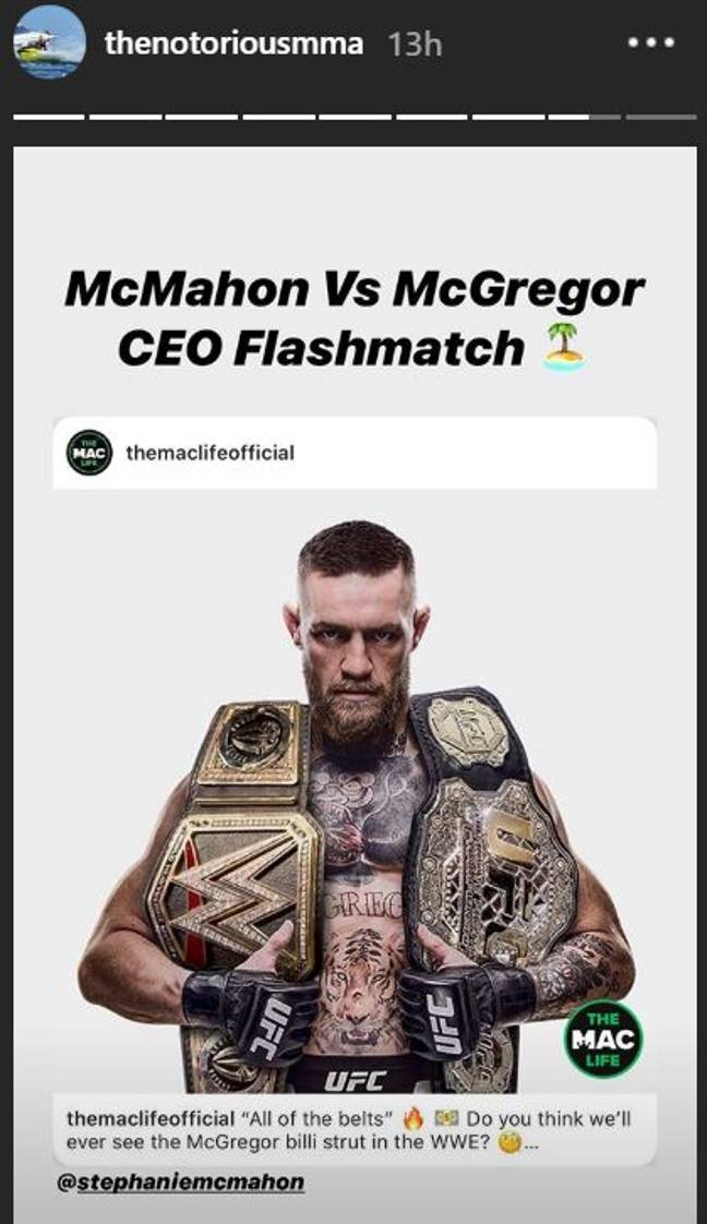 McGregor's post on social media, he wants the title and the CEO. Image: Instagram