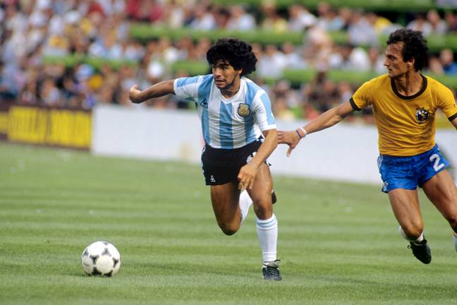 Maradona playing in the 1982 World Cup whilst a Barcelona player. Image: PA Images