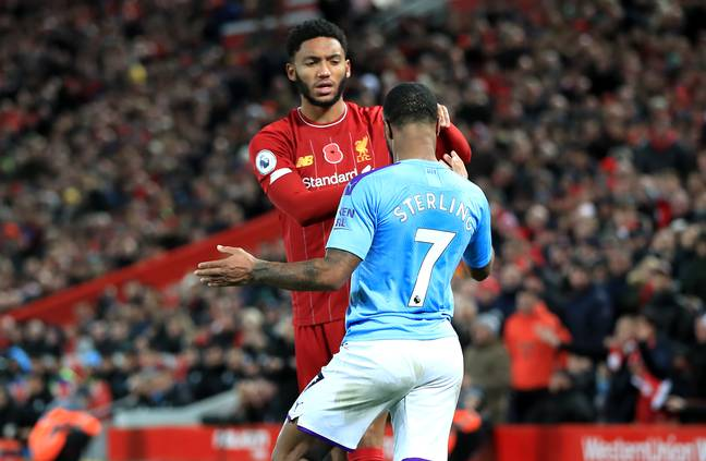 Sterling and Gomez clash during the big game on Sunday. Image: PA Images
