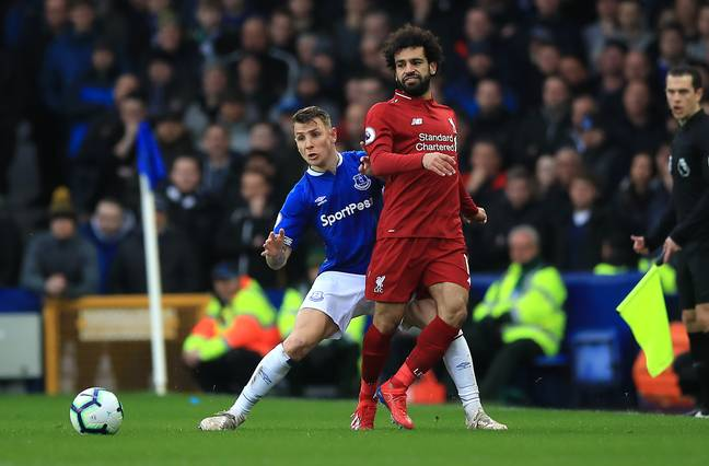 Mo Salah and Lucas Digne at Goodison Park last season. (Image Credit: PA)