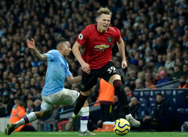 McTominay fouled by Gabriel Jesus in the Manchester derby. Image: PA Images