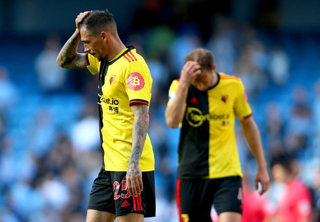 Watford players barely knew where to look. Image: PA Images