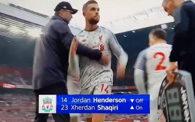 Henderson just ignores Klopp's outstretched arm. Image: Sky Sports