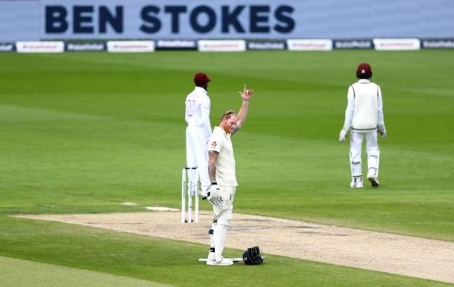 Stokes celebrates a century against West Indies. Image: PA Images