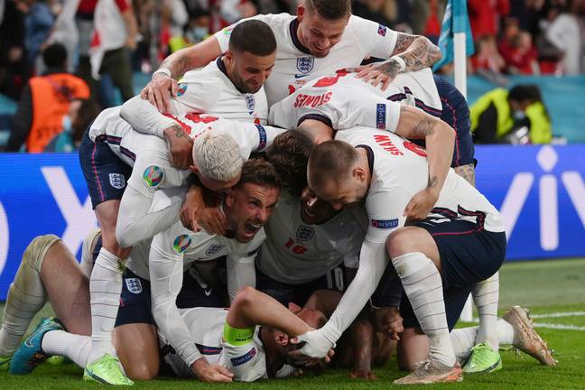 England players celebrate after Harry Kane's winner. Image: PA Images
