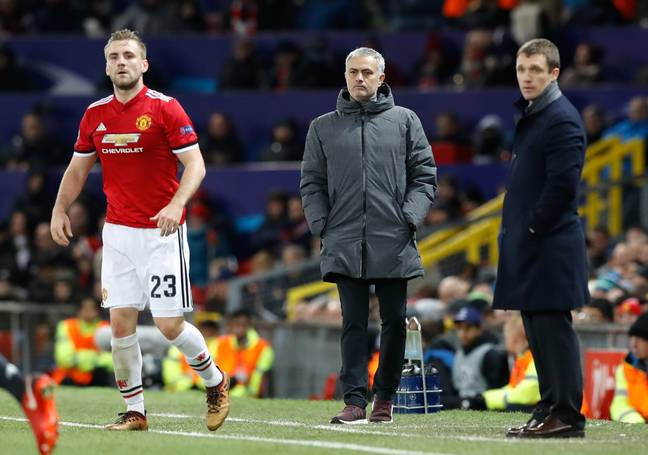 Mourinho looks on, deciding whether to praise Shaw or bully him. Image: PA Images