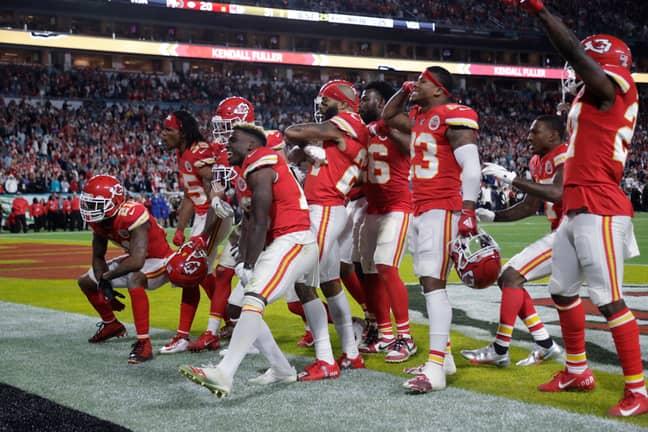 Kansas City Chiefs players celebrate on their way to Super Bowl glory
