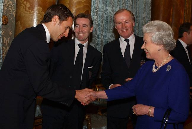 The Queen and a young Gareth Southgate back in 2002. Credit: PA