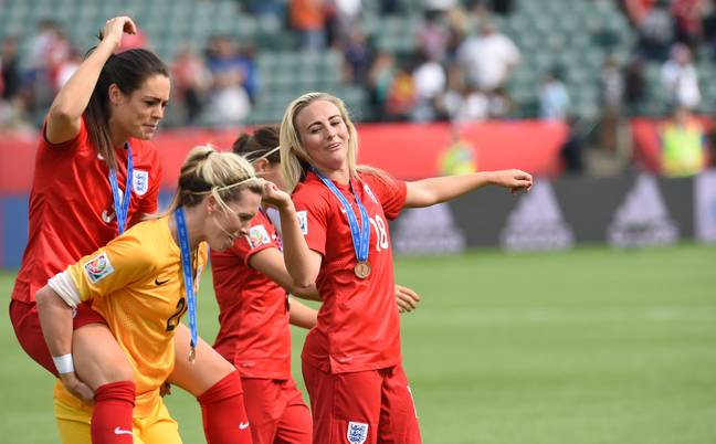 Duggan and her teammates celebrate finishing third in Canada in 2015. Image: PA Images