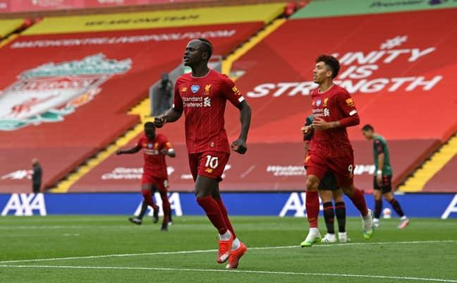 Mane celebrates his latest goal. Image: PA Images