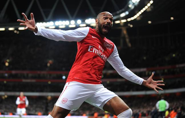 Arsenal's Thierry Henry celebrates scoring the opening goal of the game. Image: PA