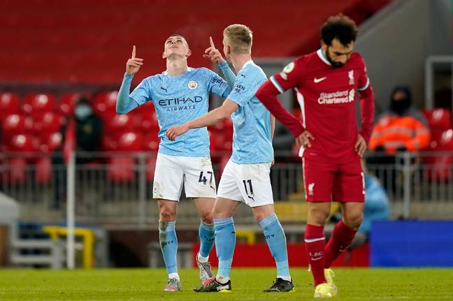 City scored three goals late on against Liverpool. Image: PA Images