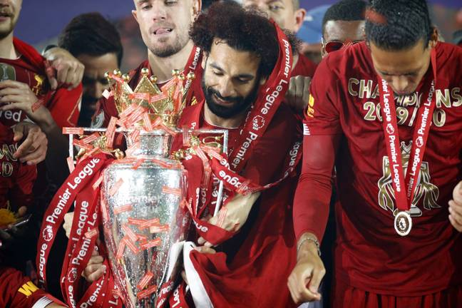 Salah with the Premier League trophy on Wednesday. Image: PA Images