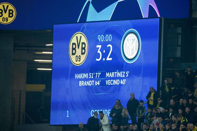 Inter led 2-0 against Dortmund but lost 3-2, the defining moment of their European campaign. Image: PA Images