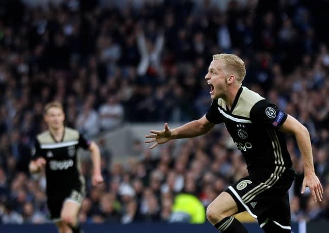Van de Beek celebrates his goal against Spurs. Image: PA Images