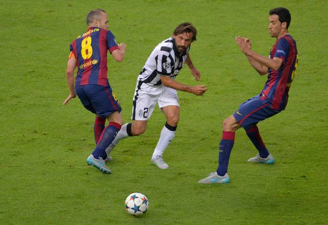 Pirlo playing in the 2015 Champions League final. Image: PA Images
