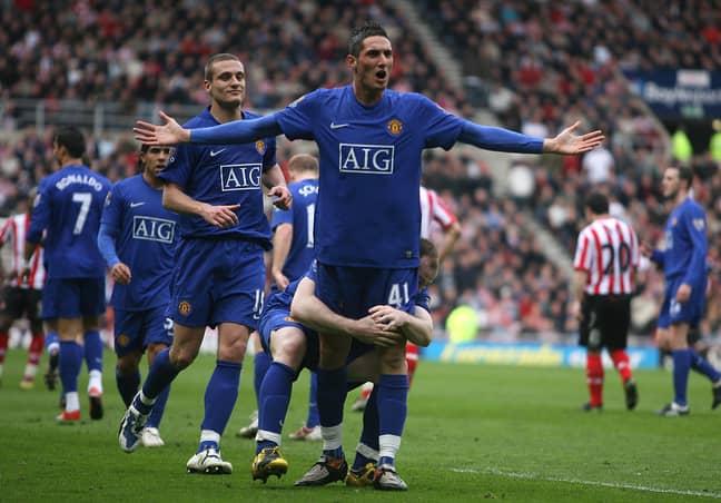 Macheda celebrates his goal against Sunderland. Image: PA Images