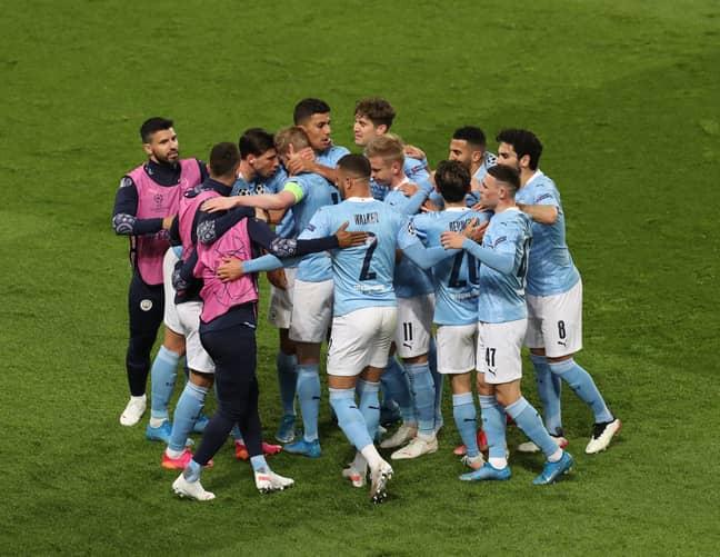 City players celebrate Riyad Mahrez's late winner. Image: PA Images