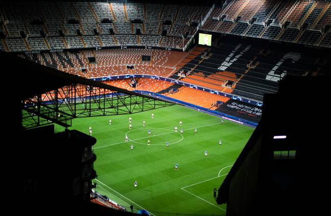 The empty stadium at Valencia. Image: PA Images