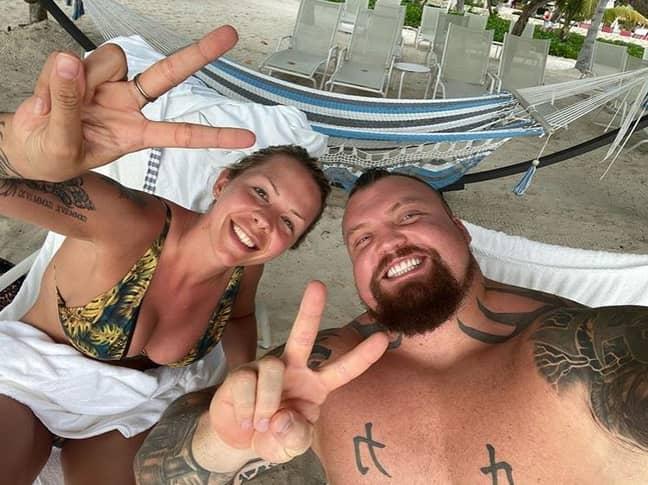 Eddie Hall with his Wife, Alexandra. Credit: Instagram/eddiehallwsm