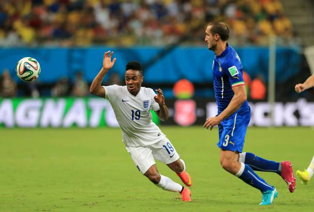 Sterling and Chiellini will meet again on Sunday. Image: PA Images