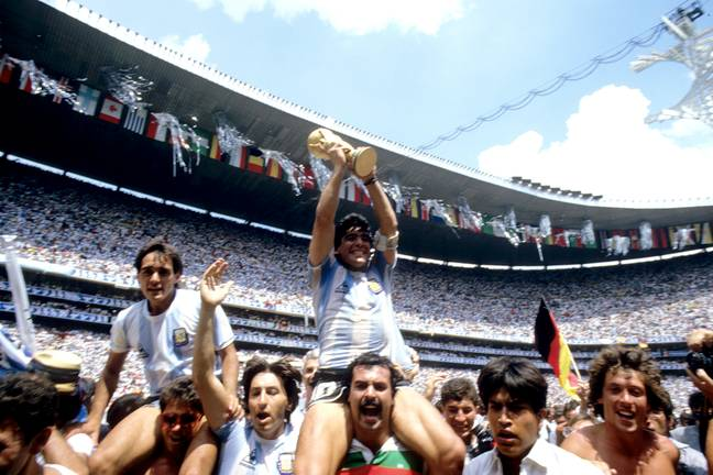 Maradona lifts the FIFA World Cup in 1986. Credit: PA