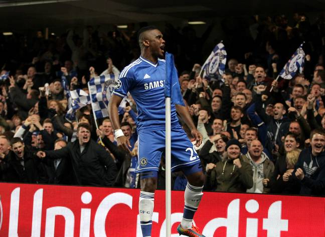 Eto'o celebrates scoring a goal for Chelsea. Image: PA