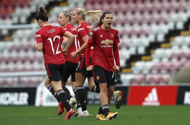 Tobin Heath celebrates scoring for United. Image: PA Images