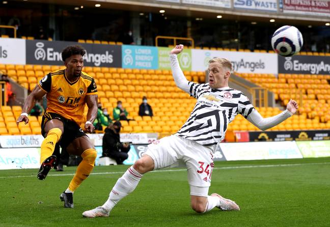 Van de Beek made a rare appearance on the final day of the league season vs Wolves. Image: PA Images