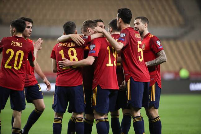 Spain players celebrate their opener. Image: PA Images