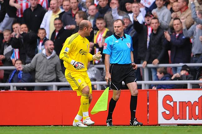 Pepe Reina protested to the officials about the goal, but his complaints fell on deaf ears