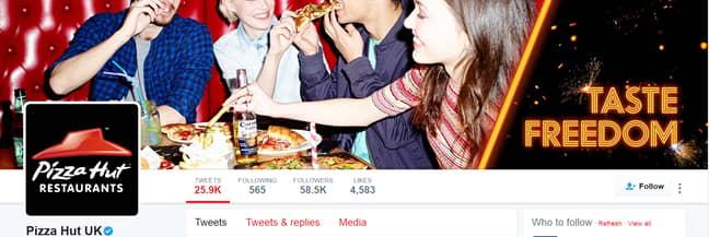 Pizza Hut's Twitter Account