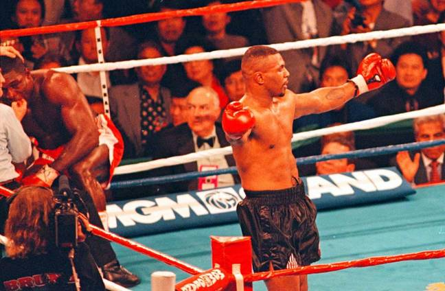 Tyson after defeating Frank Bruno in 1996. (Image Credit: PA)