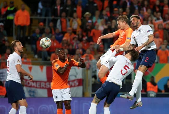 De Ligt scoring his goal against England last night (Image Credit:PA)