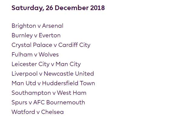 Boxing Day fixtures. Image: Premier League