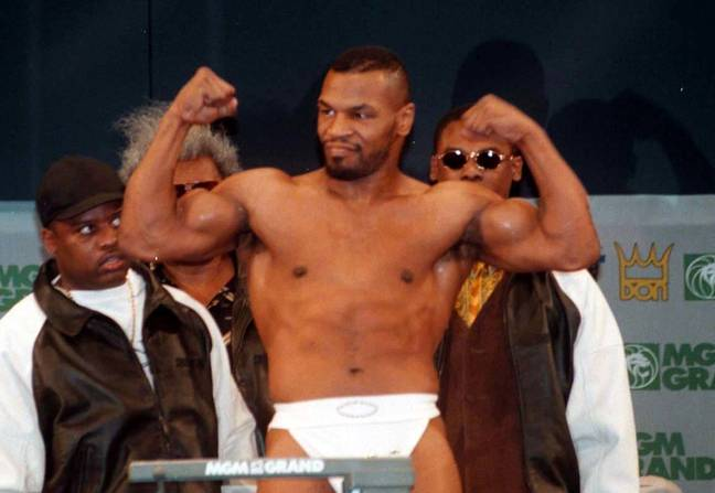 Tyson during his weigh-in for the fight with Frank Bruno. Image: PA Images