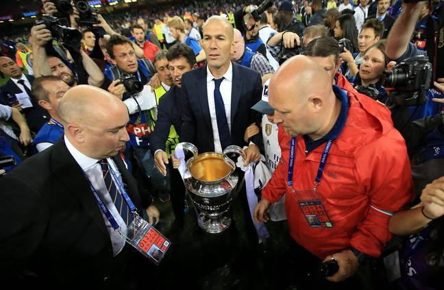 Zidane celebrates with the cup. Image: PA