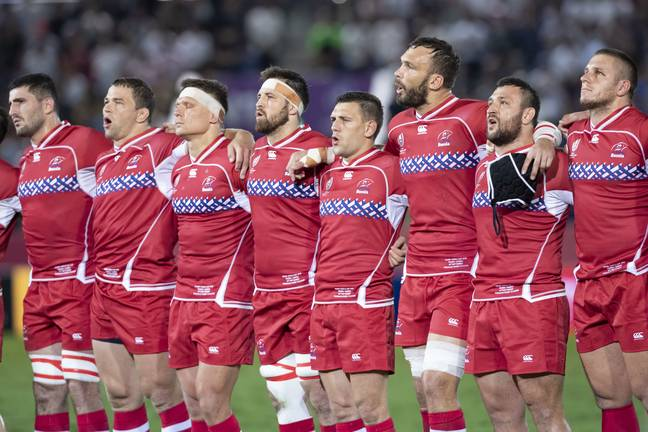 Russian players sing the national anthem during the 2019 Rugby World Cup in Japan. Credit: PA