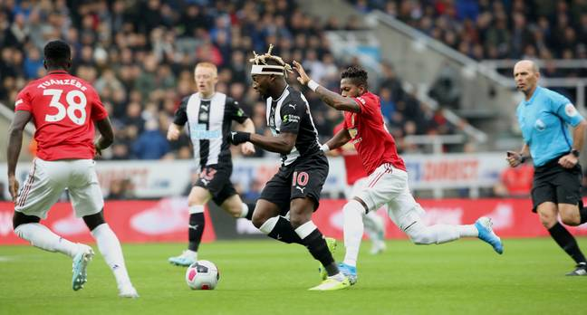 Fred chasing Allan Saint-Maximin became a frequent occurrence on Sunday. Image: PA Images