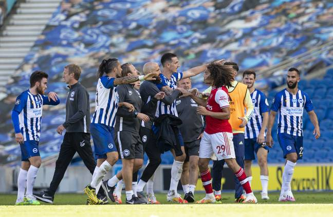 Guendouzi kicked off ugly scenes at the final whistle. Image: PA Images