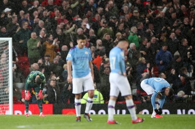 City's last game before football stopped was their loss to local rivals Manchester United. Image: PA Images