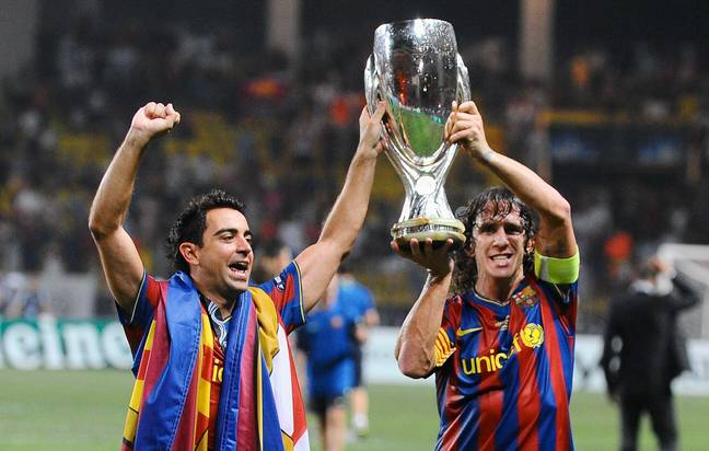 Puyol lifts the European Super Cup. Image: PA Images